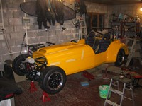 Bonnet now  tacked in place with masking tape (click for larger image)