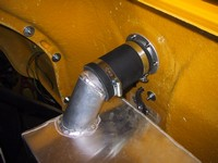 Rubber hose securely clamped in situ (click for larger image)