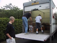 Unloading the van (click for larger image)