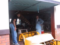 Getting the chassis into the garage (click for larger image)