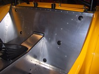 Passenger side ready for seat reinstallation with harness (click for larger image)